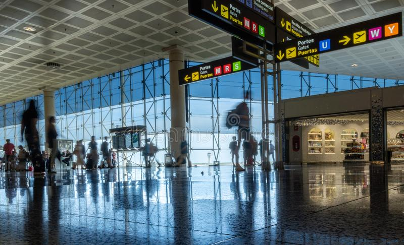 Barcelona, Spain. August 2019: Passengers in transit in Terminal 2 of Barcelona international airport. stock image