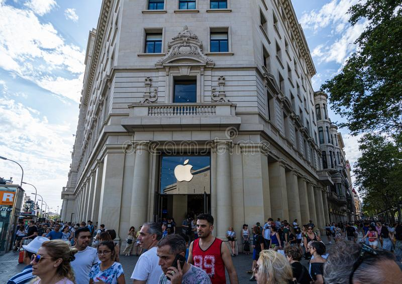 Barcelona, Spain. August 2019: Reopened Apple store in Catalunya square, Barcelona. royalty free stock photography