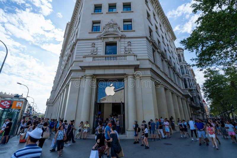 Barcelona, Spain. August 2019: Reopened Apple store in Catalunya square, Barcelona. stock image