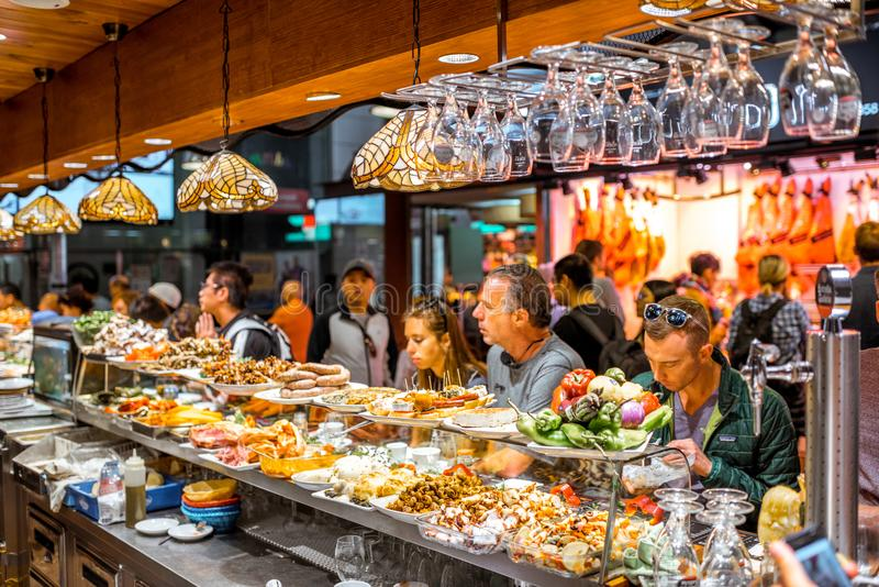 La Boqueria market in Barcelona stock images