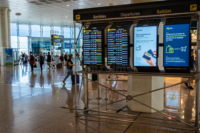 Barcelona, Spain. August 2019: Screens showing flight departures in Terminal 2 of Barcelona international airport. stock image