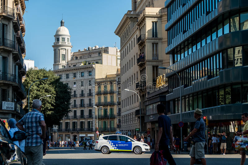 Barcelona, Spain - 17 August 2017: spanish police patrol the city center near placa catalunya after terrorist attacks royalty free stock photos
