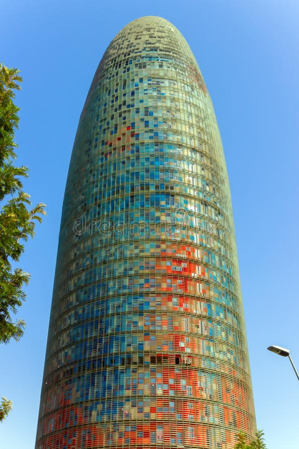 Torre agbar is a 38-story skyscraper tower in Barcelona. Catalonia, Spain. stock photo