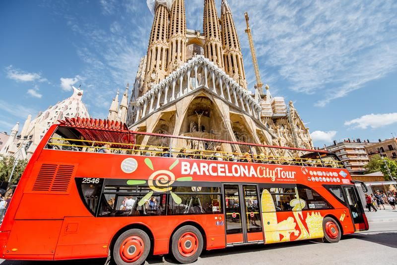 Tourist bus in Barcelona royalty free stock photos