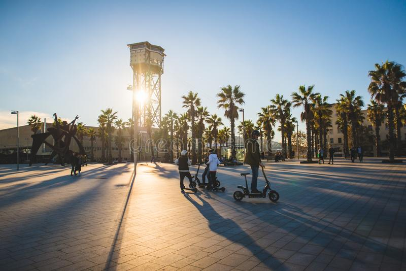 Barcelona, Spain - 24.11.2018: Beautiful day on Barceloneta Beach in autumn stock images