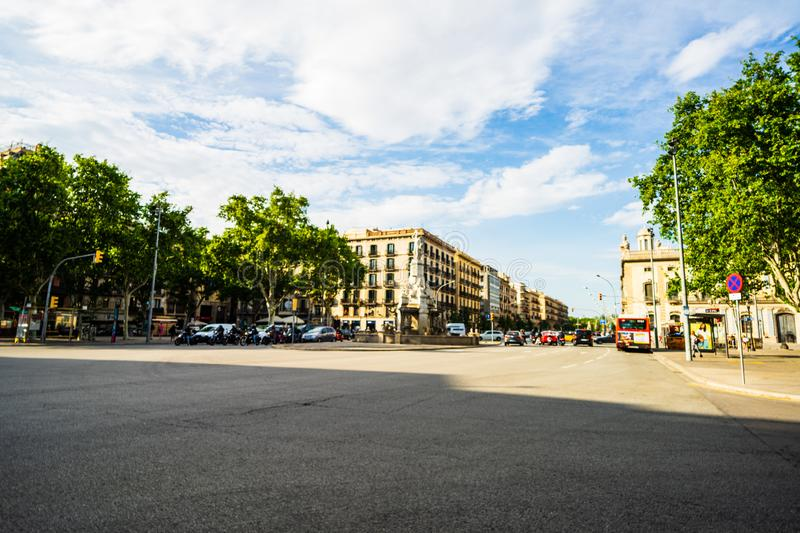 Barcelona, Spain – 2019. Blurred photo of people crossing the street on a busy afternoon in downtown Barcelona royalty free stock photos