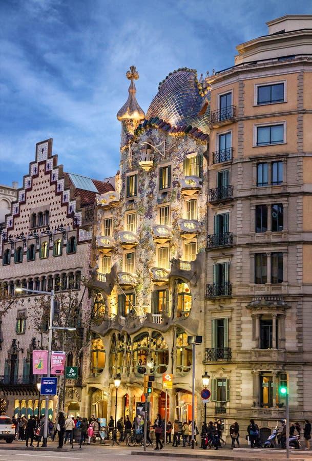 Barcelona, Spain. Building Casa Batllo, Gaudi royalty free stock photo
