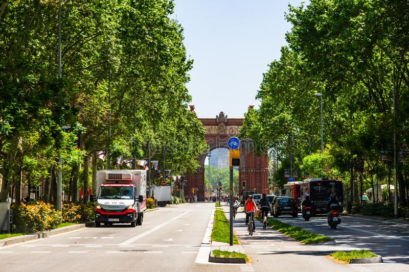 Barcelona, Spain – 2019. Car traffic between the Arch of Triumph and Ciutadella park Barcelona, Spain royalty free stock image