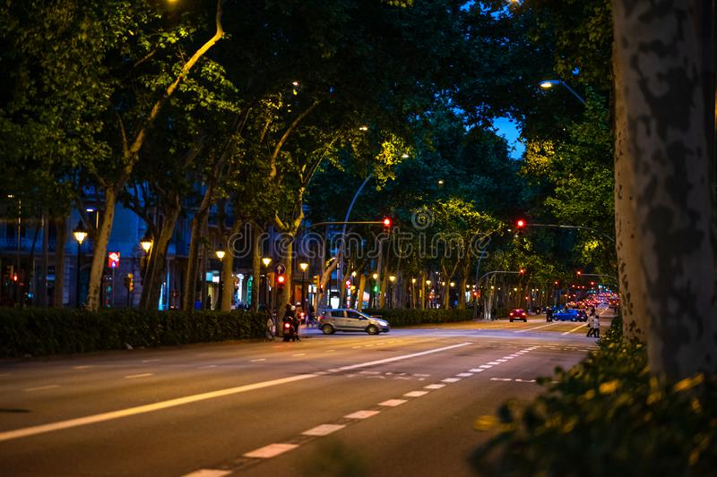 Barcelona, Spain – 2019. Car traffic at night on main street in Barcelona, Catalonia, Spain royalty free stock photo