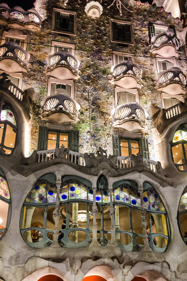 Barcelona, Spain. Casa Batllo of Antoni Gaudi. Fragment of famous building.  stock images