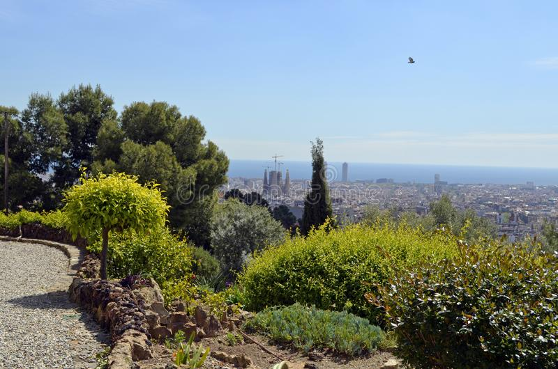Barcelona, Spain cityscape view from Antoni Gaudi s Park Guell, royalty free stock photography