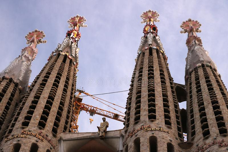 Detail of the facade of the Sagrada Familia with a recent sculpt stock photography