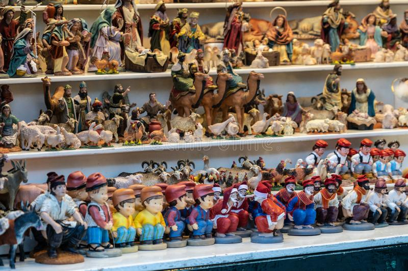 Barcelona, Spain - December 2018: The caganer, a typical catalan character in the nativity scenes of Catalonia. Often sold in Christmas markets like Santa stock image