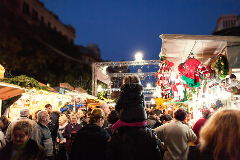 Barcelona, Spain - December 9, 2015: Christmas market Santa Llucia Fair - a typical Europe Christmas market with people and royalty free stock photography