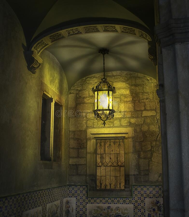 BARCELONA, SPAIN - December 18, 2018: Courtyard and fountain of Casa de l Ardiaca Archdeacon`s House at night in Gothic Quarter. BARCELONA, SPAIN  Courtyard and stock image