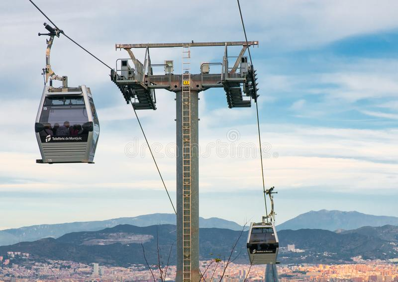 BARCELONA,SPAIN - DECEMBER 31, 2017: Funicular between Port Vell and Montjuic hill stock photos