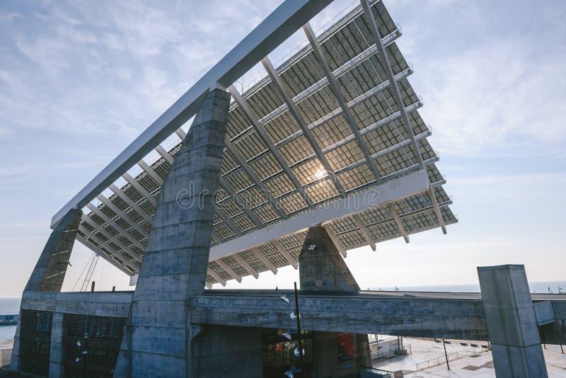 Solar Panel in the harbor Port Forum, Barcelona royalty free stock image