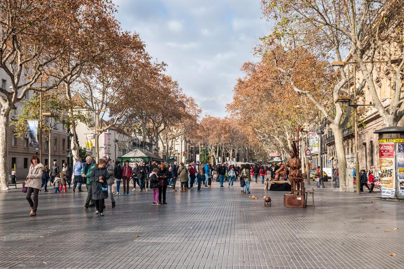 La Rambla street in Barcelona, Spain stock image