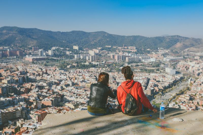 Viw from Bunkers del Carmel panorama, Barcelona. BARCELONA, SPAIN - DECEMBER 26, 2015: People watching panorama of Barcelona form the hill known as the `Turo de stock photo