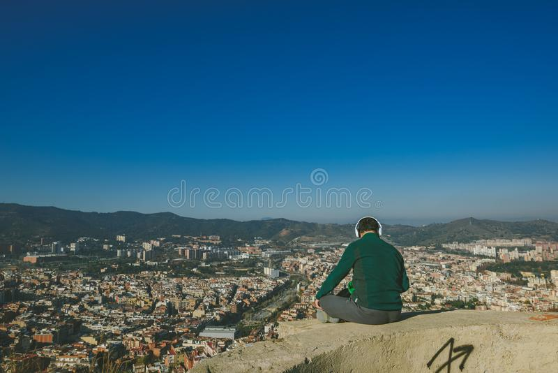 Viw from Bunkers del Carmel panorama, Barcelona. BARCELONA, SPAIN - DECEMBER 26, 2015: People watching panorama of Barcelona form the hill known as the `Turo de royalty free stock photos