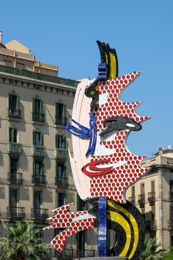 BARCELONA SPAIN/EUROPE - JUNI 1: Roy Lichtenstein skulptur arkivfoto
