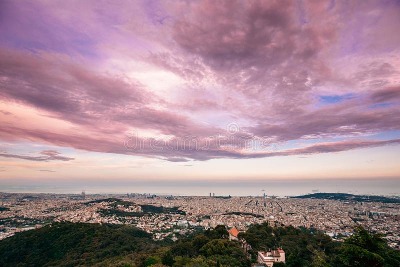 Barcelona, Spain. Evening Panorama Of City Cityscape From Mounta royalty free stock images
