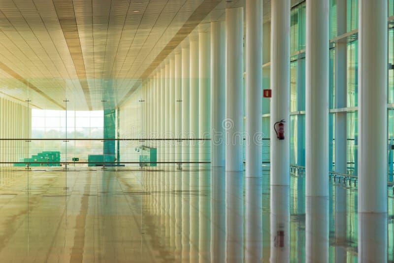 BARCELONA, SPAIN - FEBRUARY 25, 2017: Airport waiting room. Copy space for text. BARCELONA, SPAIN - FEBRUARY 25, 2017: Airport waiting room. Copy space for text stock image
