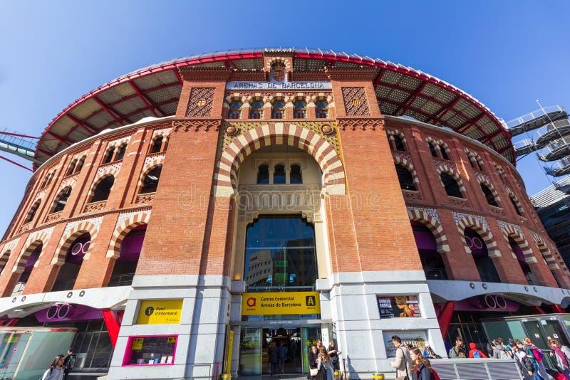 Barcelona, Spain - February 22, 2019 - Arenas de Barcelona Barcelona Arena is a former bull fighting arena near Placa Espanya. It has been transformed into a stock image