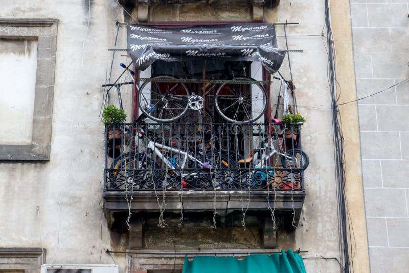 BARCELONA, SPAIN, February 4, 2018 The balcony of a multistory royalty free stock photography