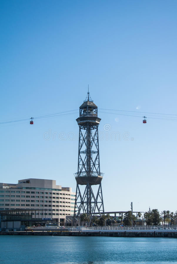 BARCELONA, SPAIN - FEBRUARY 12, 2014: Barcelona cable car station at the port. Mediterranean sea and hotels, Spain royalty free stock image