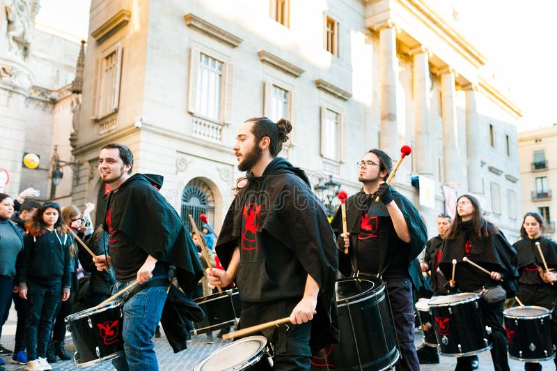 Barcelona, Spain - February 9 2018: batucada parade in the streets of barcelona during popular carnival celebrations. Barcelona, Spain - February 9, 2018 stock images