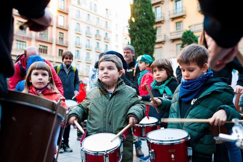 Barcelona, Spain - February 9 2018: batucada parade in the streets of barcelona during popular carnival celebrations. Barcelona, Spain - February 9, 2018 stock image