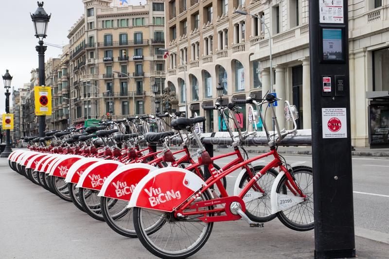BARCELONA, SPAIN, February 4, 2018 Bicing bicycle rental station royalty free stock photo