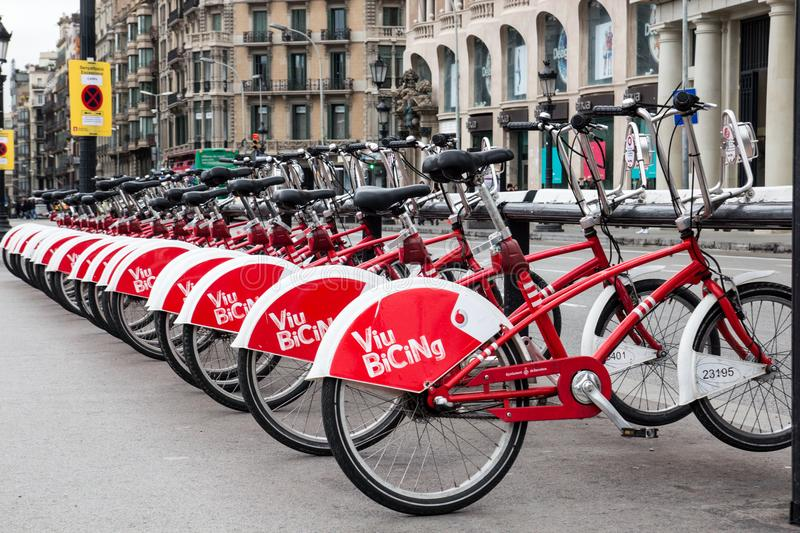 BARCELONA, SPAIN, February 4, 2018 Bicing bicycle rental station stock photos