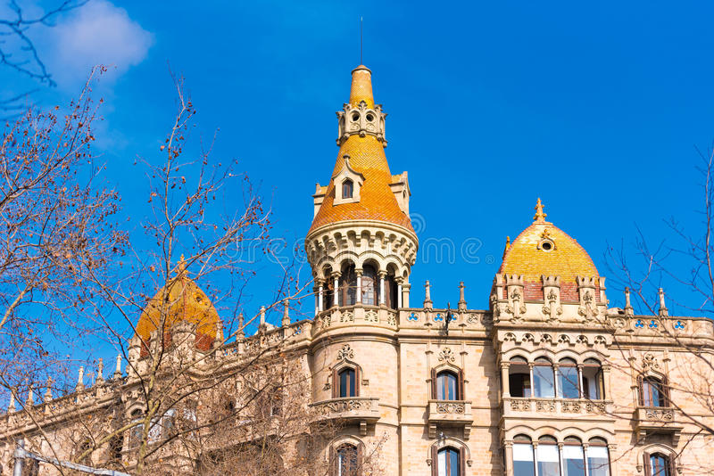 BARCELONA, SPAIN - FEBRUARY 16, 2017: Building Cases Antoni Rocamora. Copy space for text. BARCELONA, SPAIN - FEBRUARY 16, 2017: Building Cases Antoni Rocamora stock photography