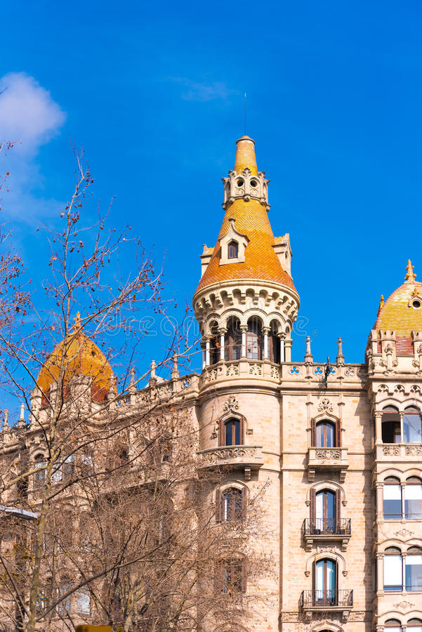 BARCELONA, SPAIN - FEBRUARY 16, 2017: Building Cases Antoni Rocamora. Copy space for text. Vertical. BARCELONA, SPAIN - FEBRUARY 16, 2017: Building Cases Antoni royalty free stock photos