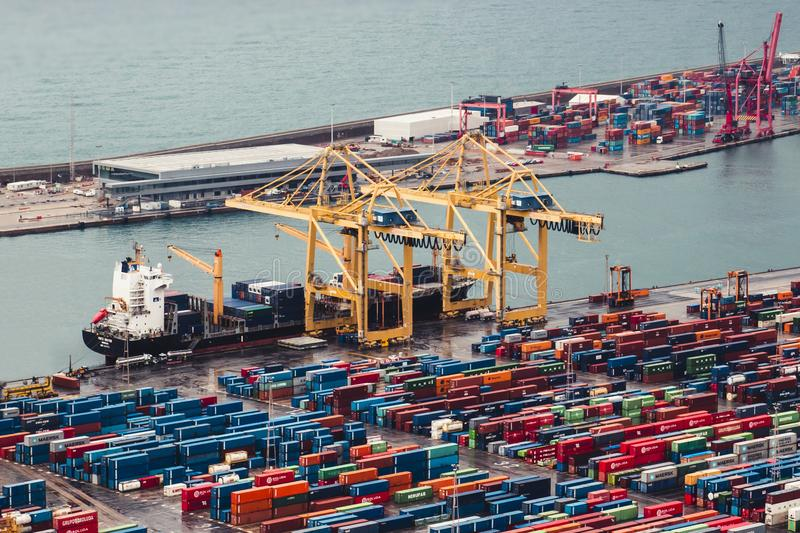 BARCELONA, SPAIN, February 5, 2018, Cargo transportation ship mo stock images