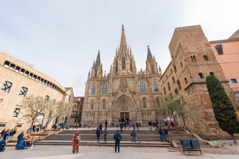 BARCELONA, SPAIN - FEBRUARY 16, 2017: Cathedral of the Holy Cross and St. Eulalia. Copy space for text. BARCELONA, SPAIN - FEBRUARY 16, 2017: Cathedral of the royalty free stock photos