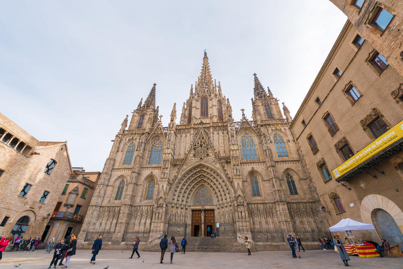 BARCELONA, SPAIN - FEBRUARY 16, 2017: Cathedral of the Holy Cross and St. Eulalia. Copy space for text. BARCELONA, SPAIN - FEBRUARY 16, 2017: Cathedral of the stock photo