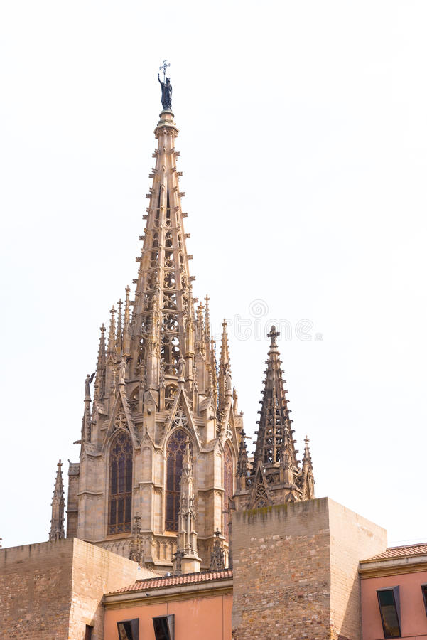 BARCELONA, SPAIN - FEBRUARY 16, 2017: Cathedral of the Holy Cross and St. Eulalia. Copy space for text. Vertical. BARCELONA, SPAIN - FEBRUARY 16, 2017 stock photo