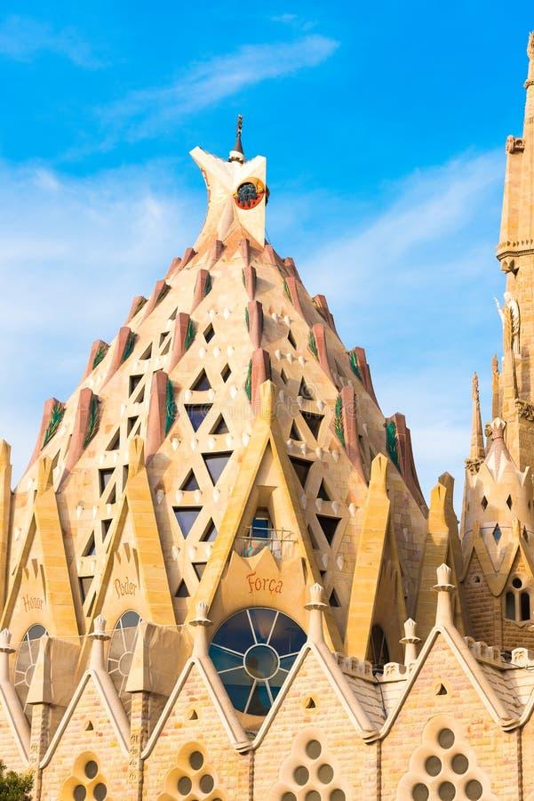 BARCELONA, SPAIN - FEBRUARY 16, 2017: Cathedral of Sagrada Familia. The famous project of Antonio Gaudi. Close-up. Copy space. BARCELONA, SPAIN - FEBRUARY 16 royalty free stock photography