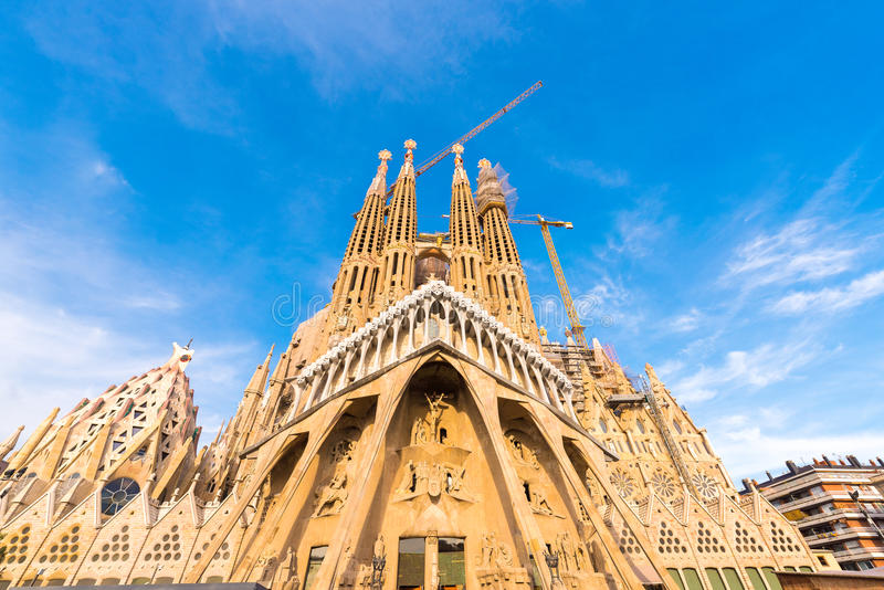 BARCELONA, SPAIN - FEBRUARY 16, 2017: Cathedral of Sagrada Familia. The famous project of Antonio Gaudi. Copy space for tex. T stock image