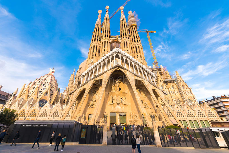 BARCELONA, SPAIN - FEBRUARY 16, 2017: Cathedral of Sagrada Familia. The famous project of Antonio Gaudi. Copy space for tex. T royalty free stock photos