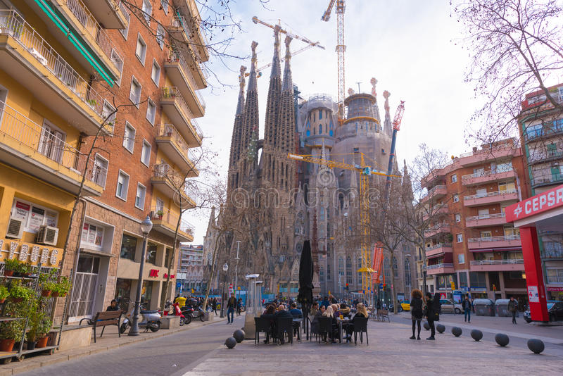 BARCELONA, SPAIN - FEBRUARY 16, 2017: Cathedral of Sagrada Familia. The famous project of Antonio Gaudi. Copy space for text. BARCELONA, SPAIN - FEBRUARY 16 royalty free stock images