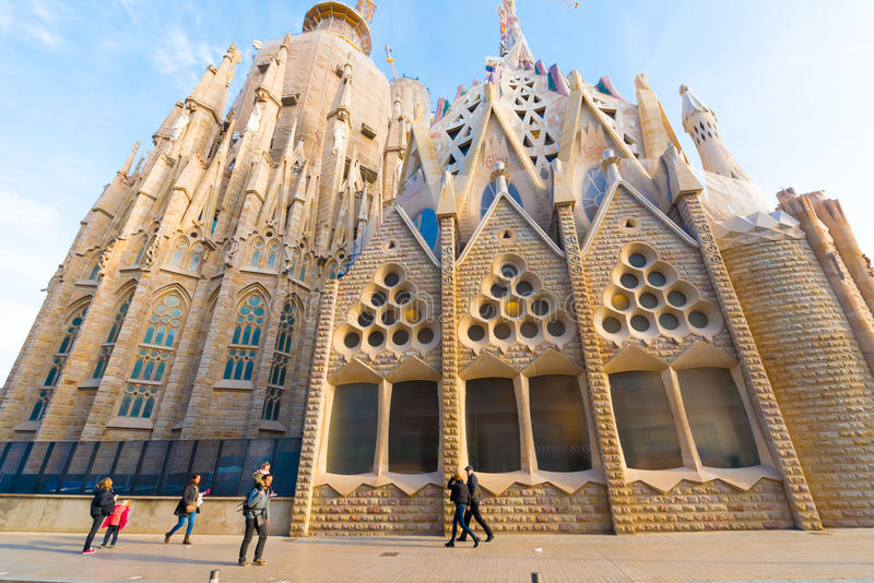 BARCELONA, SPAIN - FEBRUARY 16, 2017: Cathedral of Sagrada Familia. The famous project of Antonio Gaudi. Copy space for text. BARCELONA, SPAIN - FEBRUARY 16 royalty free stock photos