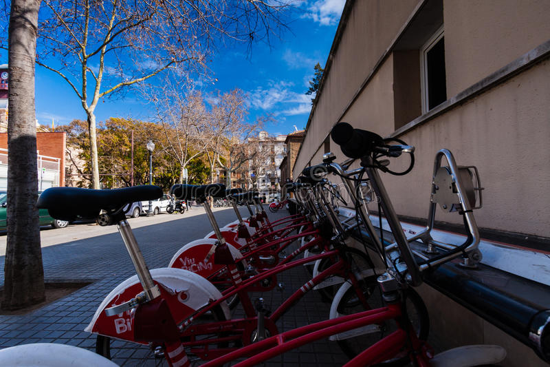 BARCELONA, SPAIN, february 2016-ecological public transport of Barcelona-bicycles. BARCELONA, SPAIN, february 2016-ecological public transport of Barcelona royalty free stock image