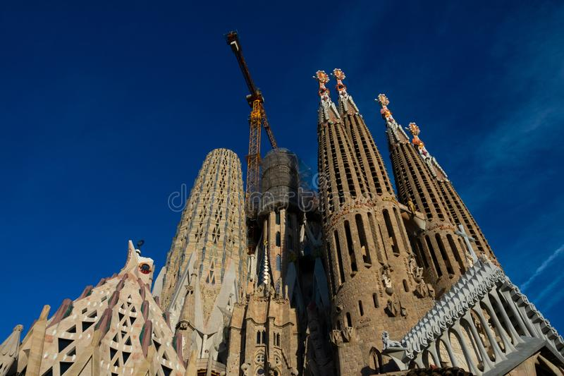 Expiatory Church of the Holy Family Templo Expiatorio de la Sagrada Familia. Barcelona, Spain. February 10, 2019. Expiatory Church of the Holy Family Templo royalty free stock image