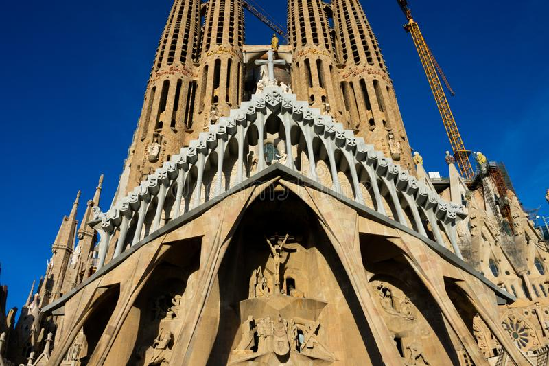 Expiatory Church of the Holy Family Templo Expiatorio de la Sagrada Familia. Barcelona, Spain. February 10, 2019. Expiatory Church of the Holy Family Templo royalty free stock photos