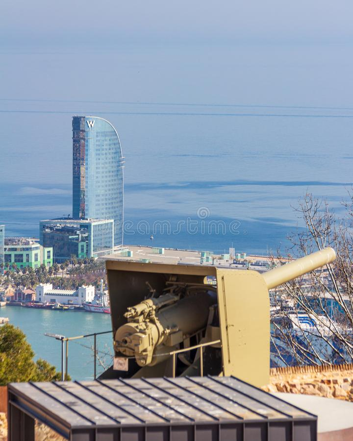 Barcelona, Spain - February 22, 2019 - Exterior of the W Hotel as viewed from Montjuic Castle. The building is also known as Hotel. Vela Sail Hotel royalty free stock photo