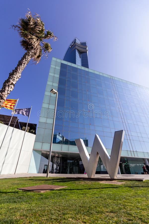 Barcelona, Spain - February 21, 2019 - Exterior of the W Hotel in the Barceloneta district. The building is also known as Hotel. Vela Sail Hotel royalty free stock images